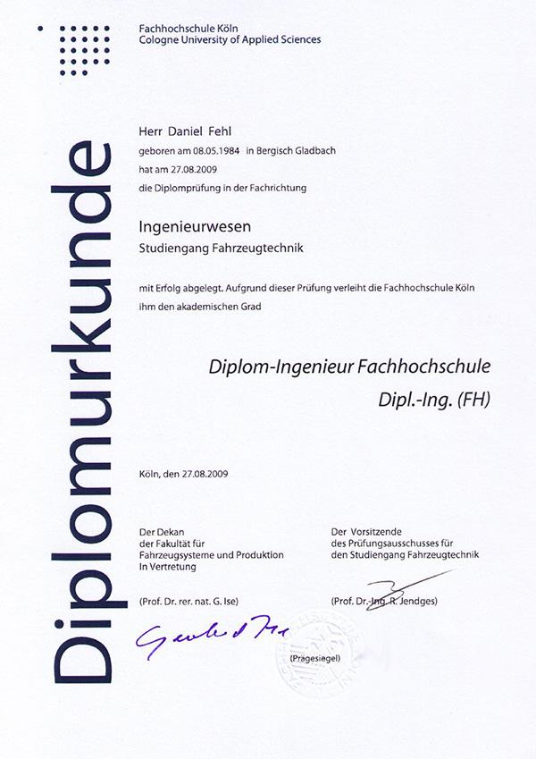 Diplomurkunde Daniel Fehl Ingenieurwesen
