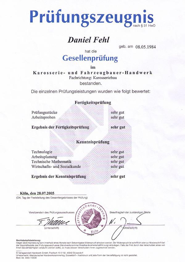 Daniel Fehl Zeugnis Gesellenprüfung