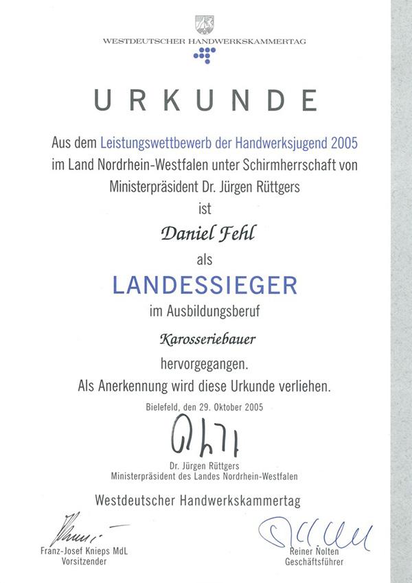 Daniel Fehl Landessieger Karosseriebauer