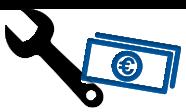 Icon mit Schraubenschlüssel & Geldscheinen